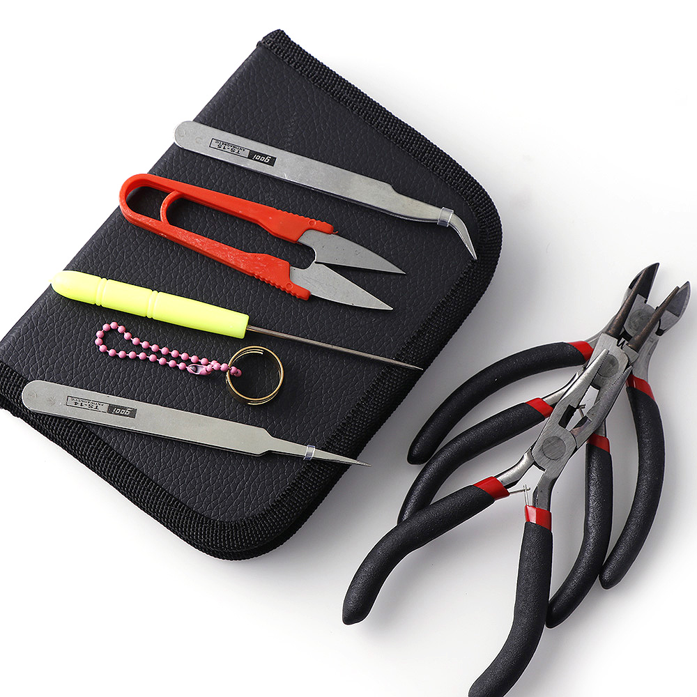 8pcs/set Jewelry Making Tool Kits Pliers Set With Round Nose Plier Side Cutting Pliers Wire Cutter Scissor Beading Tweezers 5