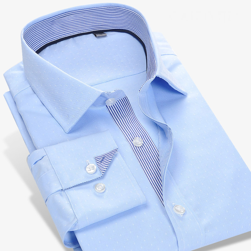 Fashion 2017 100% Cotton Striped no need iron slim fit striped print twill business men dress shirts party formal male clothes
