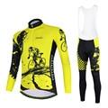 Aogda набор для велоспорта с длинным рукавом для мужчин Джерси желтый Одежда для велоспорта Ropa Maillot Ciclismo комплект велосипедной одежды