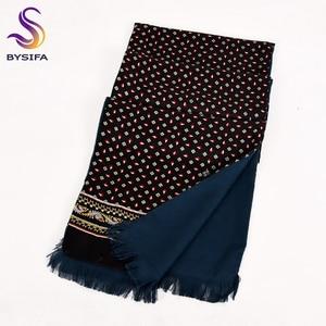 Image 1 - [Bysifa] homem negócios preto lenço de seda engrossar outono inverno masculino 100% natural seda longo cachecóis cravats pescoço cachecol gravata 165*24cm
