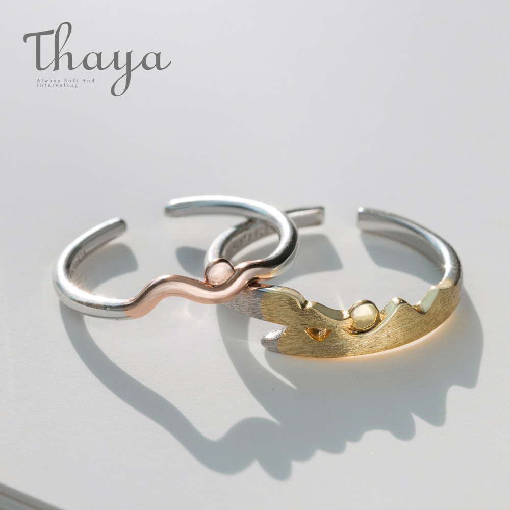 Thaya Sunrise and Sunset Rings S925 Silver Rose Gold Simple Round Wave Comfort Fit Natural Ring for Lover Couple Women JewelryThaya Sunrise and Sunset Rings S925 Silver Rose Gold Simple Round Wave Comfort Fit Natural Ring for Lover Couple Women Jewelry