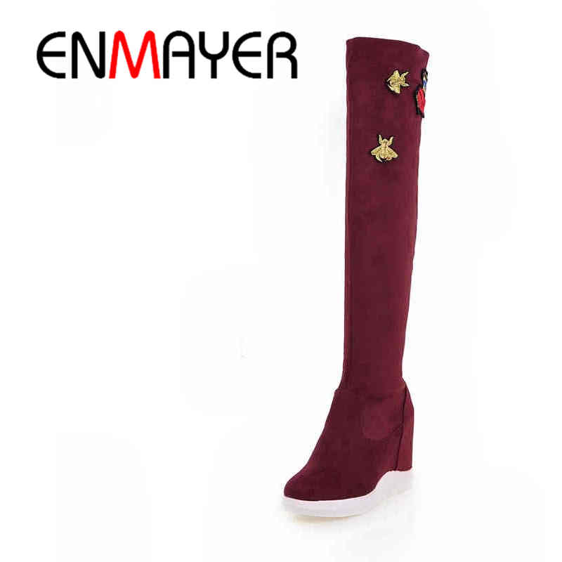 ФОТО ENMAYER Autumn/Winter High Heels Thigh High Boots Height Increasing Waterproof Platform Boots Women Over-the-Knee Embroider Bee