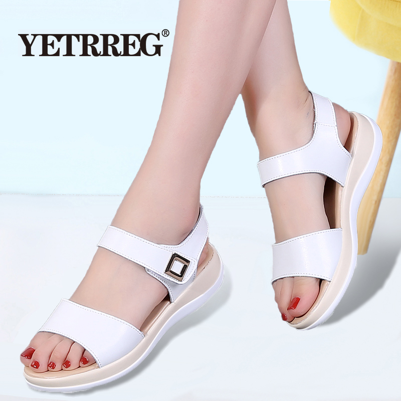 Fashion Sandals Flat-Shoes Open-Toe Women's Wedges Beach Summer New Non-Slip Thick-Bottom