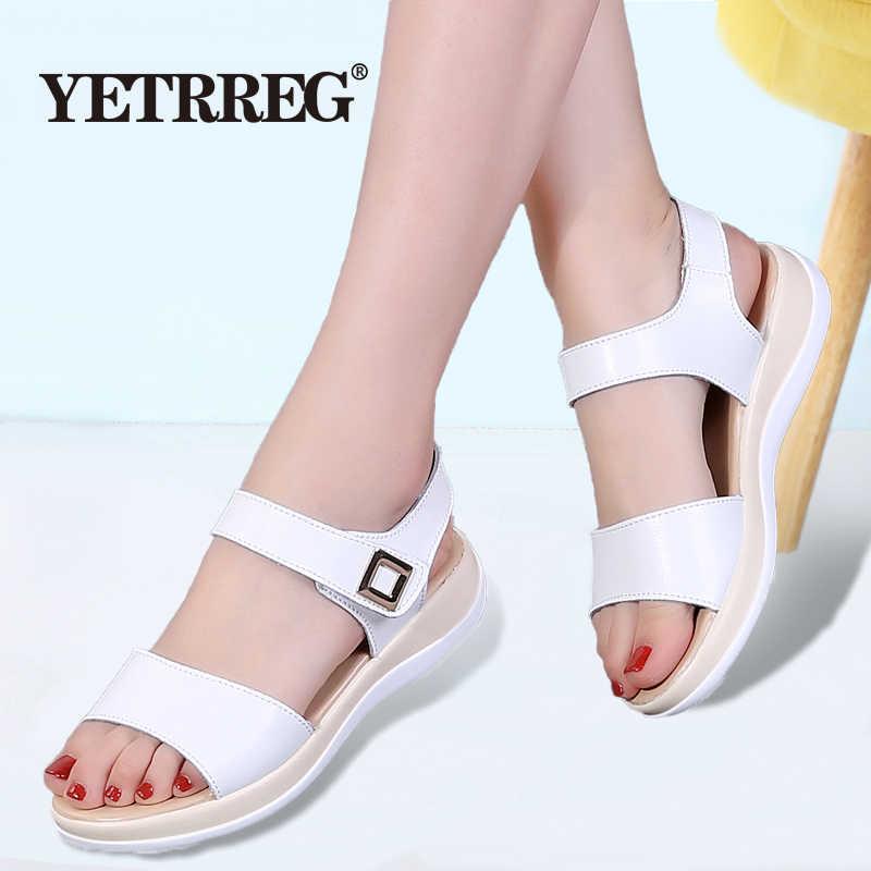 Nowe letnie damskie modne sandały damskie płaskie buty