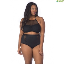 ec2dcd80d1 miduo Plus Size Bikinis Set 2018 High Waist Swimsuit Mesh Sexy Black Fat  Bathing Suit