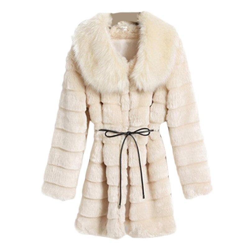 Noir Fourrure D'hiver Faux 2019 Manteaux Beige noir De Manteau Manches À blanc Renard Rayé Luxe Longues Femmes Beige Blanc qwg6C8gx