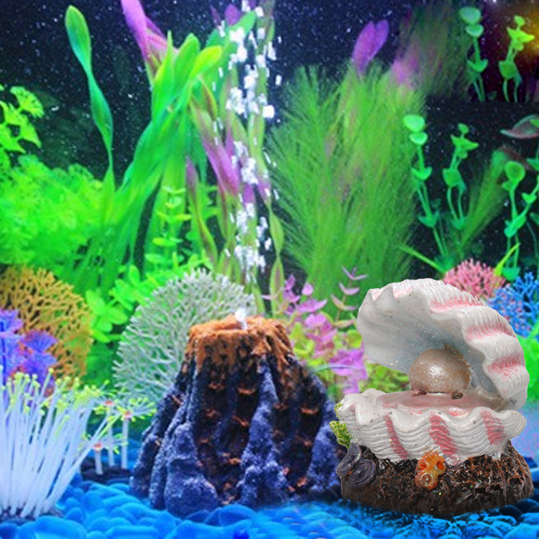 Behokic Pearl Shell Volcano Coral Shape Toys Aquarium Decoration Fish Tank Oxygen Pump Air Bubble Bomb Air Stone Drive Ornament