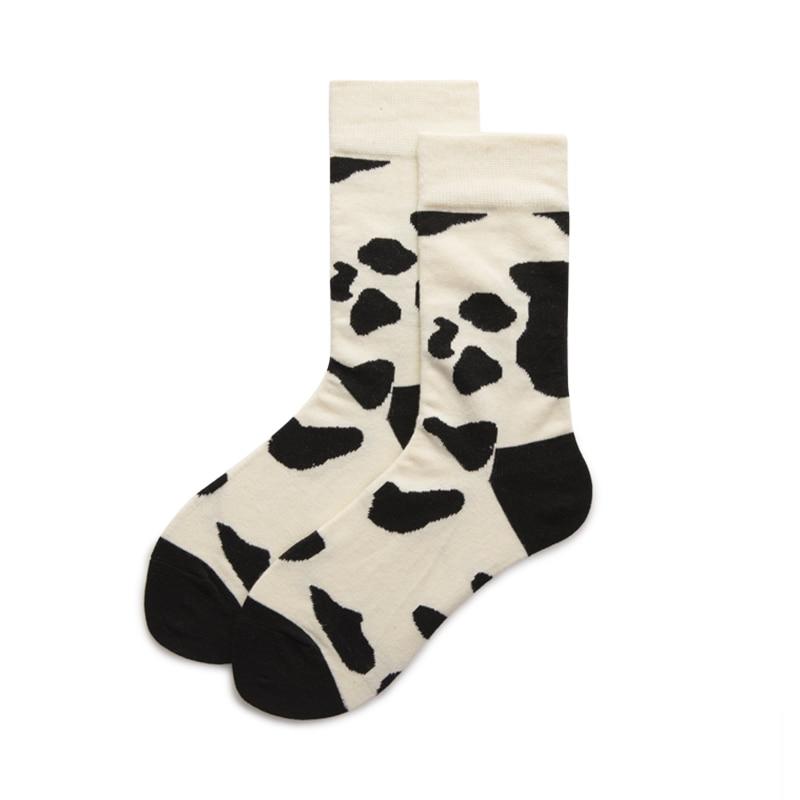Men Printing Fashion Cartoon Cow Spot Socks Comfort Cotton Socks Creative Street Black White Unisex Tideway Happy Funny Socks