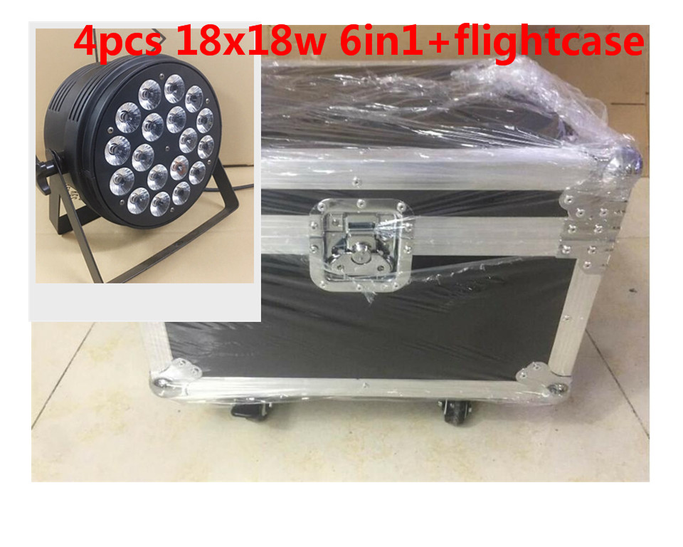 4 pz 18x18 W LED Par Luci con 1 flight case rgbwa uv 6in1 led par luce 8 pz 18x18 w zoom luci led par con 1 flight case rgbwa uv 6in1 led par luce dj controller dmx luci led zoom par luce