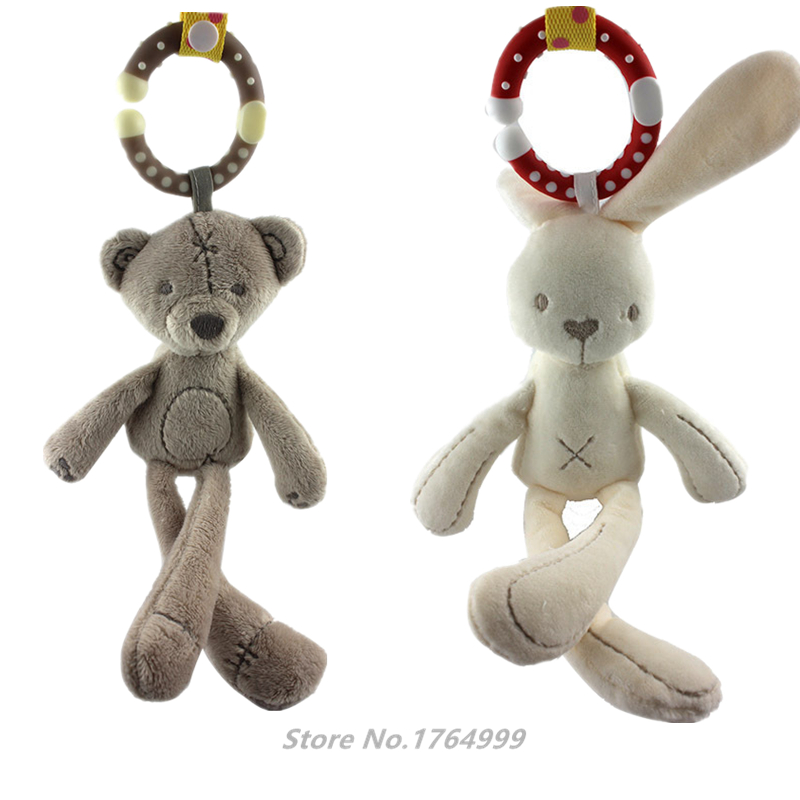 30cm Rabbit Bear Baby Hanging Bed Safety Seat Plush Toy Hand Bell Multifunctional Plush Toy Stroller Mobile Kids Baby Gifts