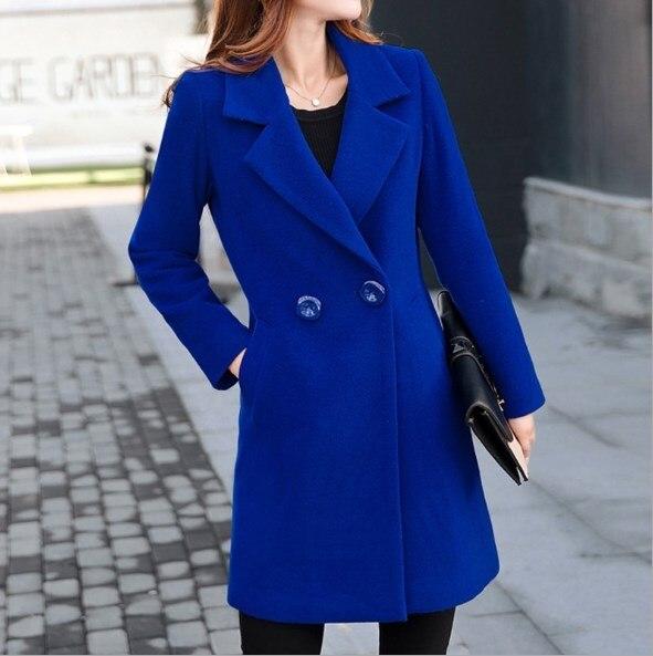 Femmes de laine À Double Boutonnage trench Noir Bleu Rouge Jaune Femme Laine Longue Blazer grande taille 4XL Femmes trench-coats pour Femmes