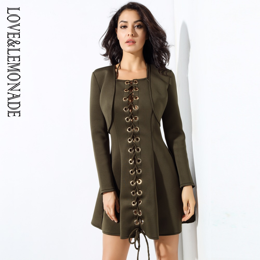 Love Lemonade Army Green Two Pieces Metal Ring Shirt Blonde Dress LM0332