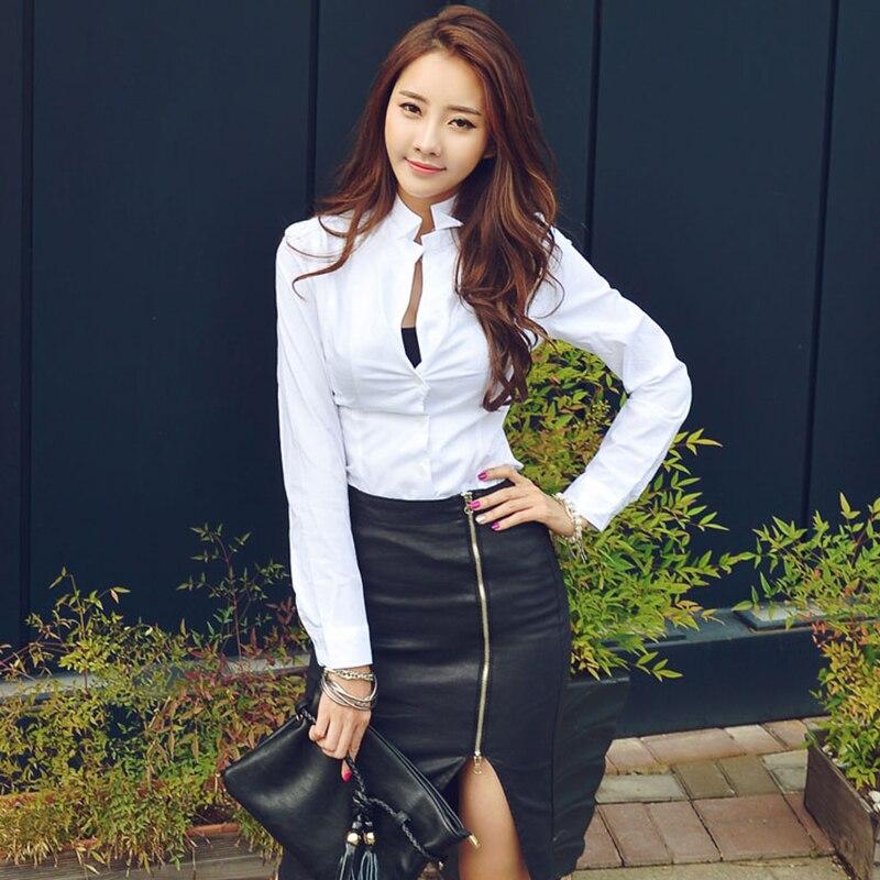 5c6c160b1 White 2018 De Oficina Blusas Femininas Delgado Tops V Atractivo Blanco  Elegante Manga Camisetas Larga Mujer Otoño Coreano Shirts Ropa ...