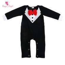 Kaiya Angel Newborn Baby Boy Winter clothes Cute Red Tie Long Sleeve Cotton Cute Boy Black Romper Factory wholesale Costume