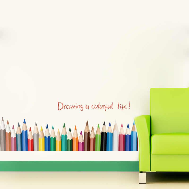 Creative Penil Bars coloré vie Sticker mural chambre pour enfants affiche murale Babyroom décoration de la maison papier peint