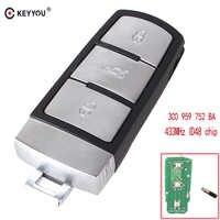 KEYYOU 3 boutons sans clé 433 Mhz ID48 voiture télécommande clé 3C0 959 752 BA pour VW Passat CC voiture clé entrée Fob remplacement coque