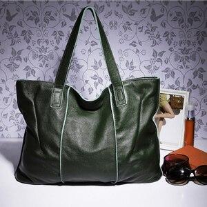 Image 3 - Zency 100% натуральная кожа сумка большая Вместительная женская сумка через плечо ретро сумка тоут Кошелек Высокое качество вместительные коричневые сумки для покупок