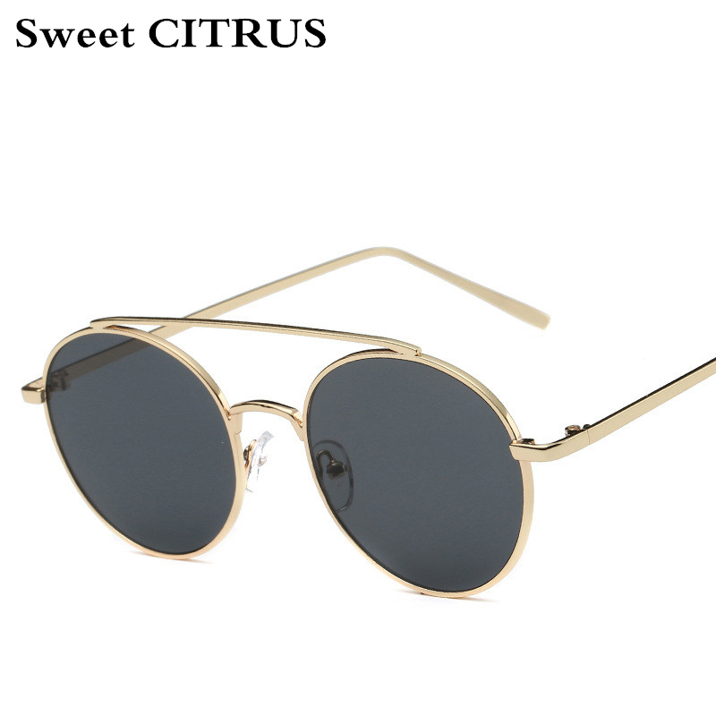 Dulce Citrus redondo Gafas de sol hombres marca de lujo del metal diseñador vintage Sol Gafas mujer lunette DE SOLEIL Homme redondo sombras