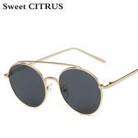 c25a1d3f37c8d CITRUS doce Rodada Óculos De Sol Dos Homens Marca de luxo de Metal Óculos  de Sol