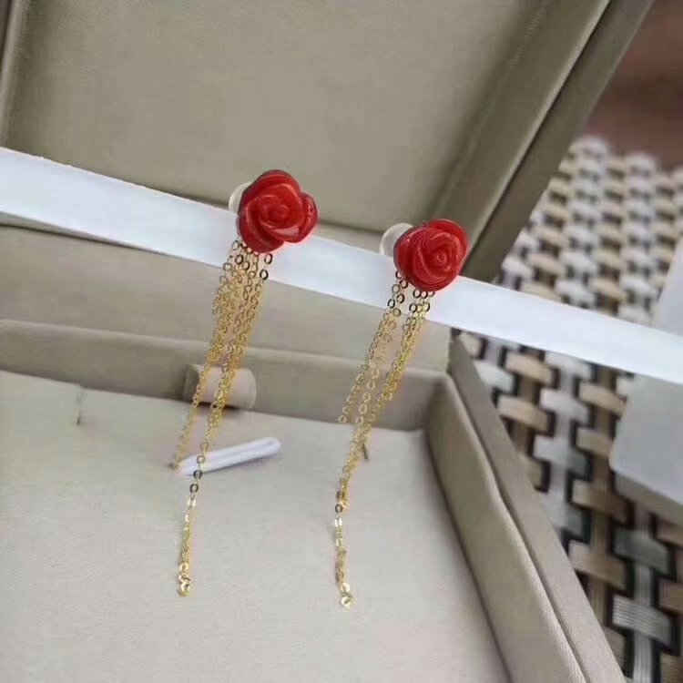 shilovem 925 sterling silver real Natural red coral stud earrings fine Jewelry women trendy wedding new gift myme7 8sh in Earrings from Jewelry Accessories
