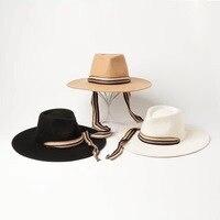 01907 HH white wool long ribbon fedoras hat cap men women leisure panama jazz hat