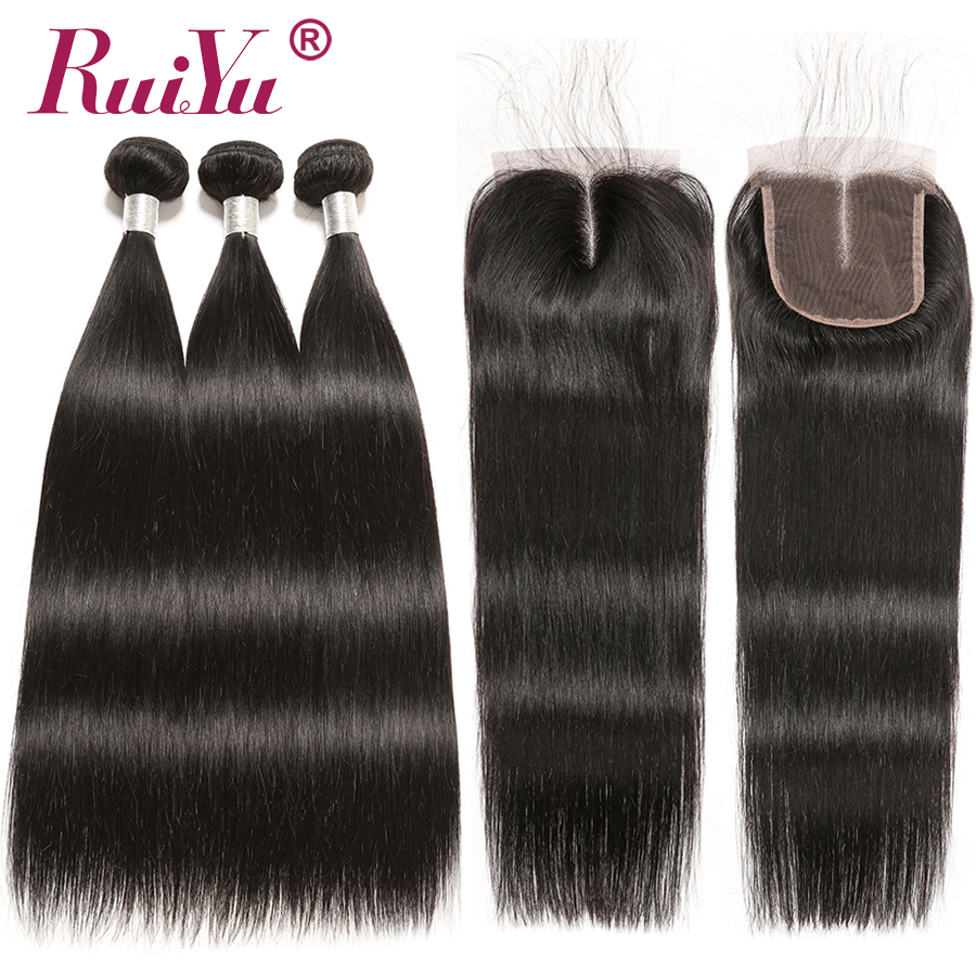 RUIYU Hair With Closure Peruvian Straight Hair Bundles With Closure 3 Bundles With Closure Remy Hair