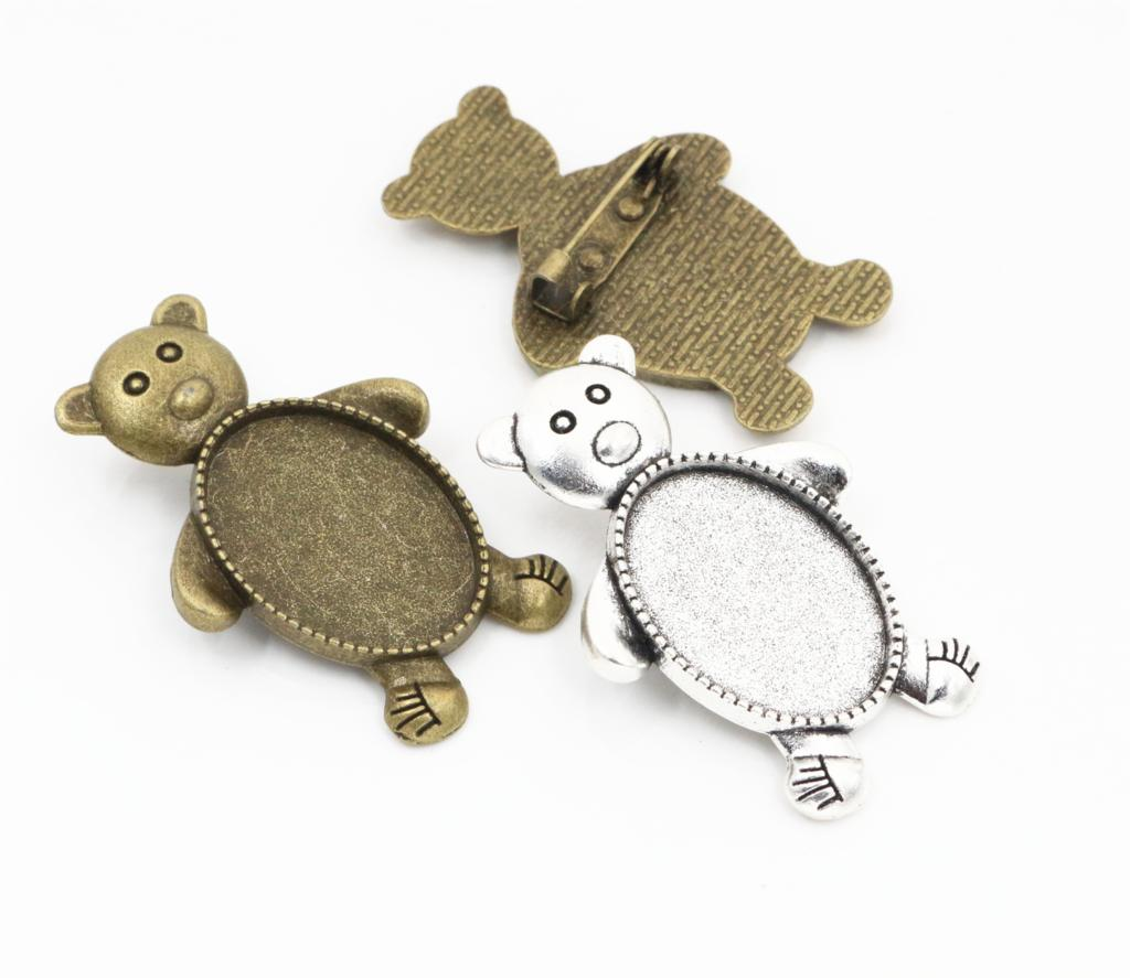 3pcs 18x25mm Inner Size Antique Silver And Bronze Colors Plated Brooch Pin Bear Style Cameo Cabochon Base Setting