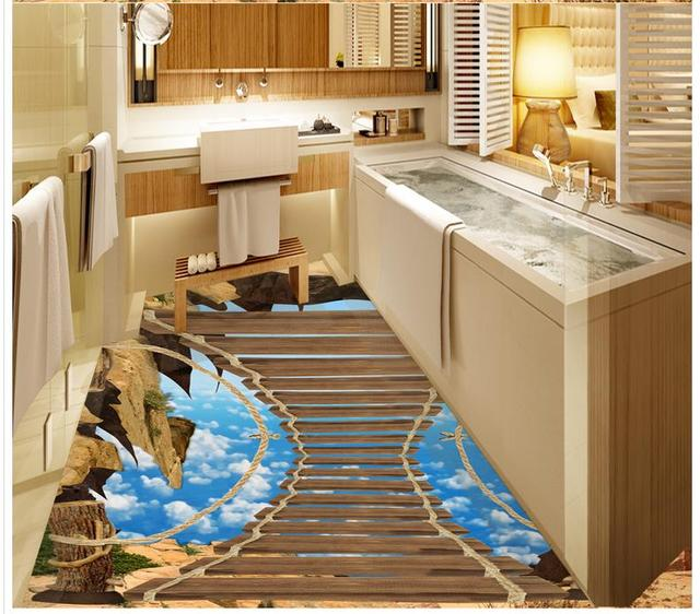 PVC waterproof floor 3D wooden ladder blue sky 3D wallpaper floor ...