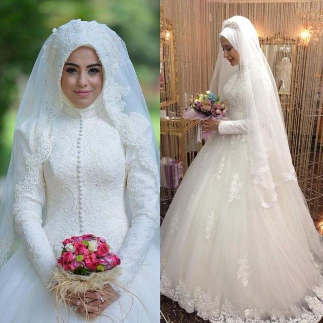 Arabic Bridal Gown Islamic Long Sleeve Muslim Wedding Dress Arab Ball Lace Hijab
