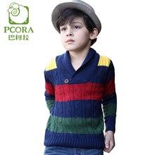 PCORA Boys Wool Children Sweater Turn-down Collar V-neck Thick Soft Keep Warm Kids Boys Sweater Striped Kids Casual Winter