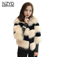 2018 Women Winter Fur Coat High Quality 7 Minutes Sleeve Short Jacket New Style Fashion Outwear