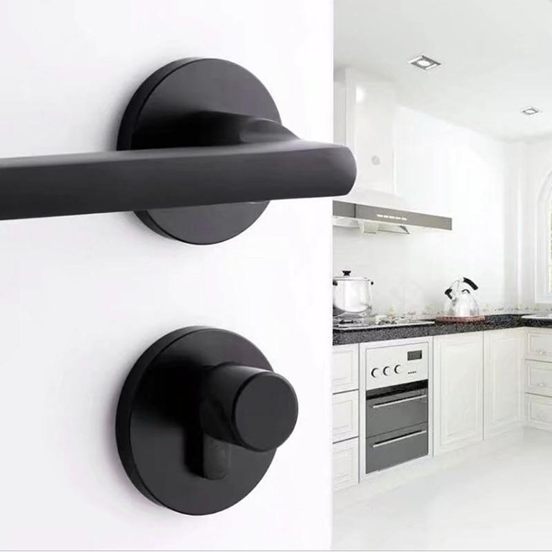 Черная космическая алюминиевая дверная ручка для интерьера/дверной замок для спальни, бесшумный дверной замок, дверная фурнитура