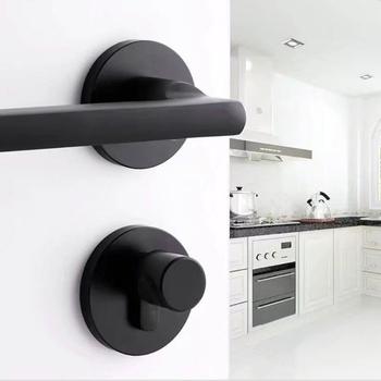 Klamka aluminiowa Black space wnętrze blokada drzwi do sypialni Split cichy zamek okucia do drzwi tanie i dobre opinie 35-45mm Door Lock Galwaniczne Aluminium Sypialnia