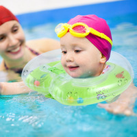 1pc Adjustable Swimming Neck Baby Swim Ring Float Ring Inflatable Circle Infant Safety Double Protecting Baby Swim Accessories