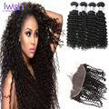 Indian Deep Wave 4 Bundles With Frontal Closure Indian Deep Wave With Closure 7A Grade Human Hair Weave With Ear To Ear Closure
