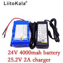 LiitoKala 24 V แบตเตอรี่ 4000 mAh 25.2 V 4Ah 18650 แบตเตอรี่ชาร์จ Mini แบบพกพาสำหรับ LED/โคมไฟ /กล้อง/กล้องวงจรปิด + 2 Acharger