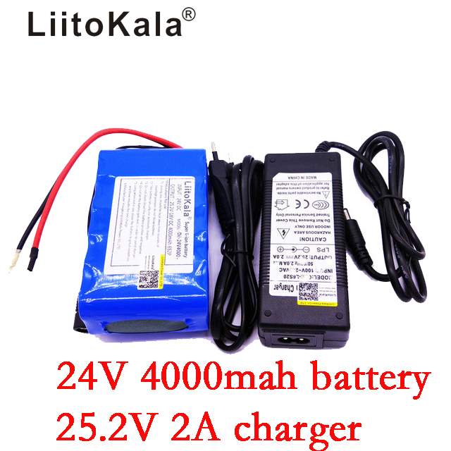 LiitoKala 24V 4000mAh Battery Pack 25.2V 4Ah 18650 Rechargeable Battery Mini Portable Charger For LED/Lamp/Camera/CCTV+2Acharger