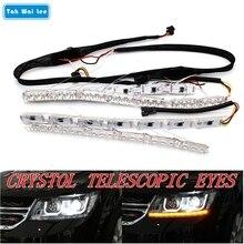 Tak Wai Lee 2X Flexible Crystal Telescopic Eyes Flow Meteor LED Steering Lamp DRL Daytime Running Light Strip Car Day Lighting цена