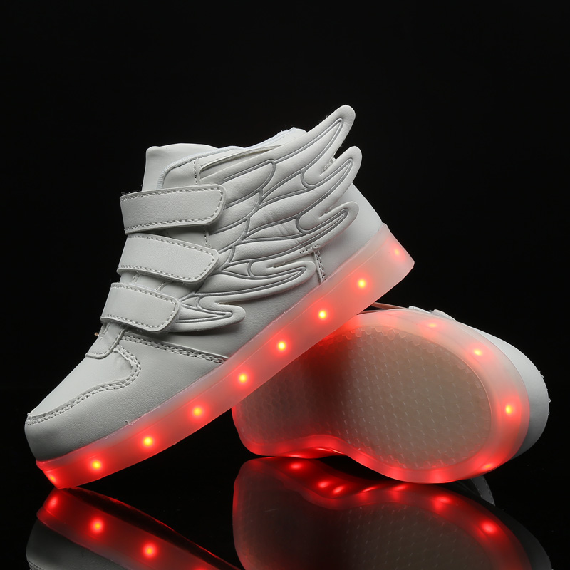 STRONGSHEN White USB Charging Led Children Shoes With Light Up Kids Casual Boys&Girls Luminous Sneakers Glowing Shoe Hook&Loop title=