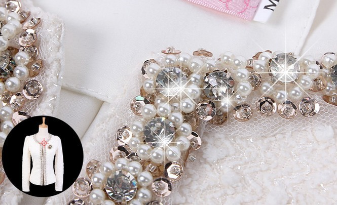 Mujeres Ropa Diamantes Abrigo 2018 white Con Chaqueta Mujer Larga Fit Invierno Slim De Corte Más Cuentas 661b Las Moda Elegante Tamaño Manga Black xxIASqv