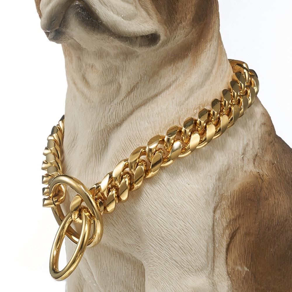 Haute qualité 16mm de large ton or Double bordure cubain Miami Link 316L en acier inoxydable collier de chaîne de chien en gros bijoux pour animaux de compagnie - 2