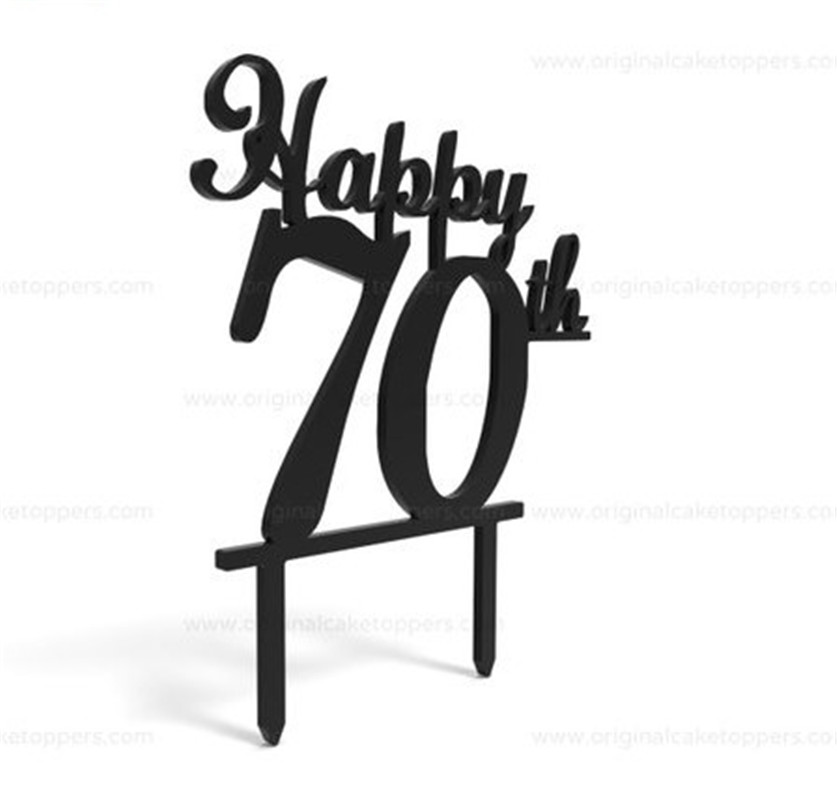 70th Birthday Cake Topper Happy Toppers Personalized Wedding Anniversary Gifts Custom Age Acrylic In Decorating Supplies From