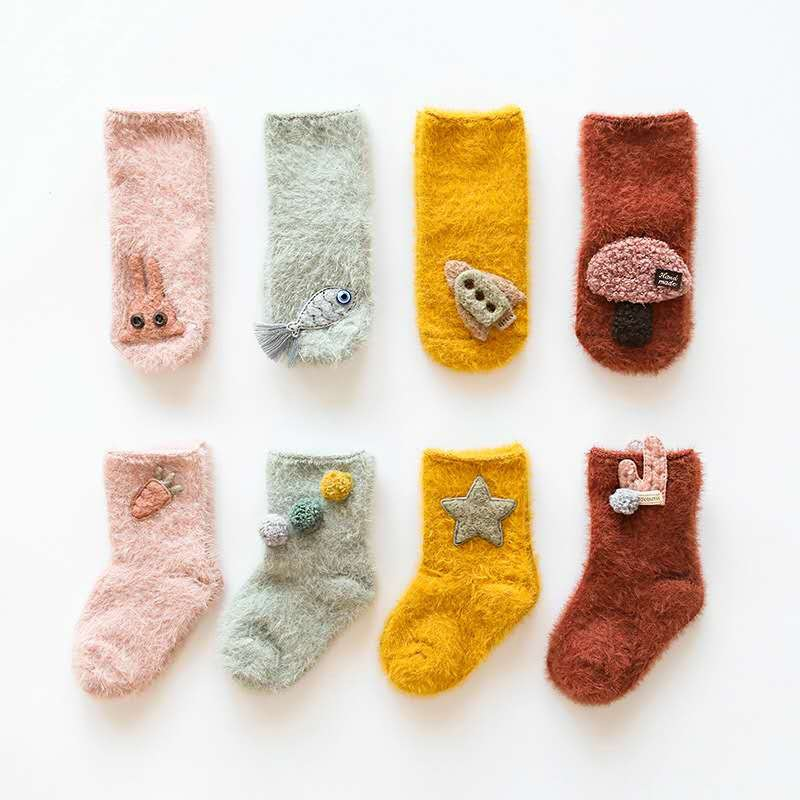 All Cotton Warm Soft Socks Boy Girl Baby Toddler Tube Socks Suit For 0-3Years