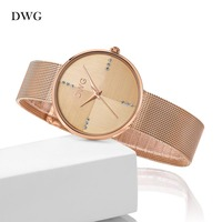 Hot DWG Watch Ladies Rose Gold Quartz Watch 2016 Wrist Watches For Women Metal Bracelet Strap