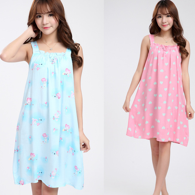 e2c8646529 Women Cotton Nightgown Floral Sleep Dress Sleeveless Sleep Shirt Nightwear  Sexy Nightwear Casual Home Dress B-5416