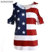 Elegante Verano de La Bandera Americana de La Camiseta Sin Tirantes Atractivo de Gran Tamaño Las Mujeres la Ropa M-5XL SY828