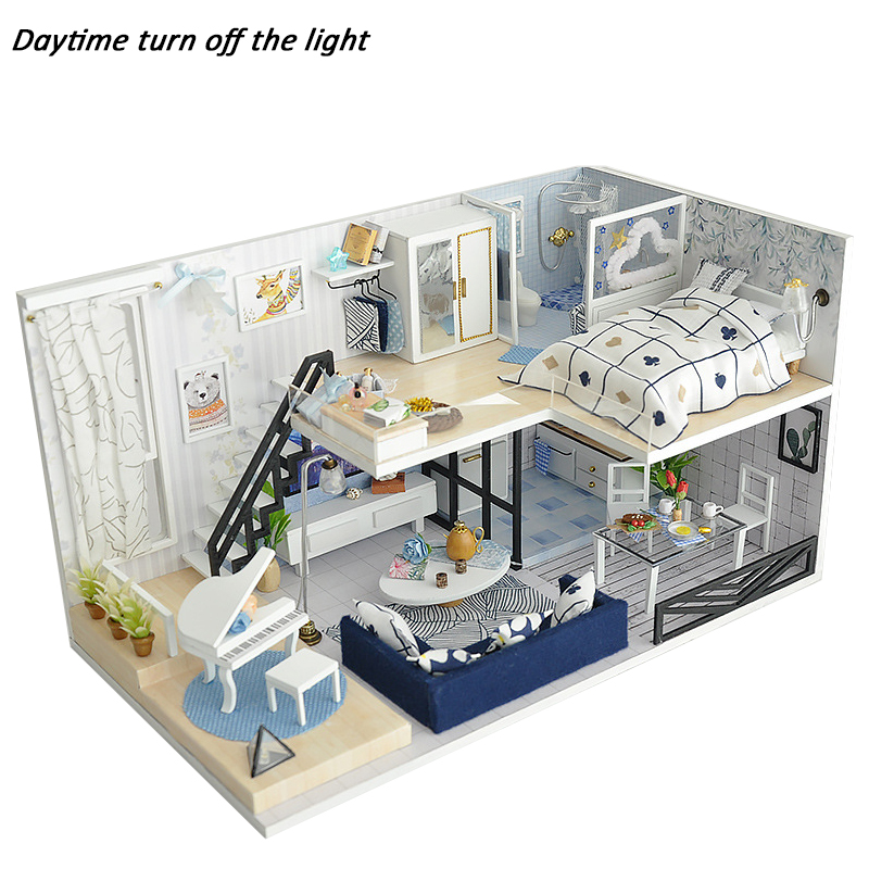 все цены на DIY Miniature Doll House Casa Toys Dollhouse Wooden With 3D LED Furnitures Model House For Dolls Handmade Toys For Children #E онлайн