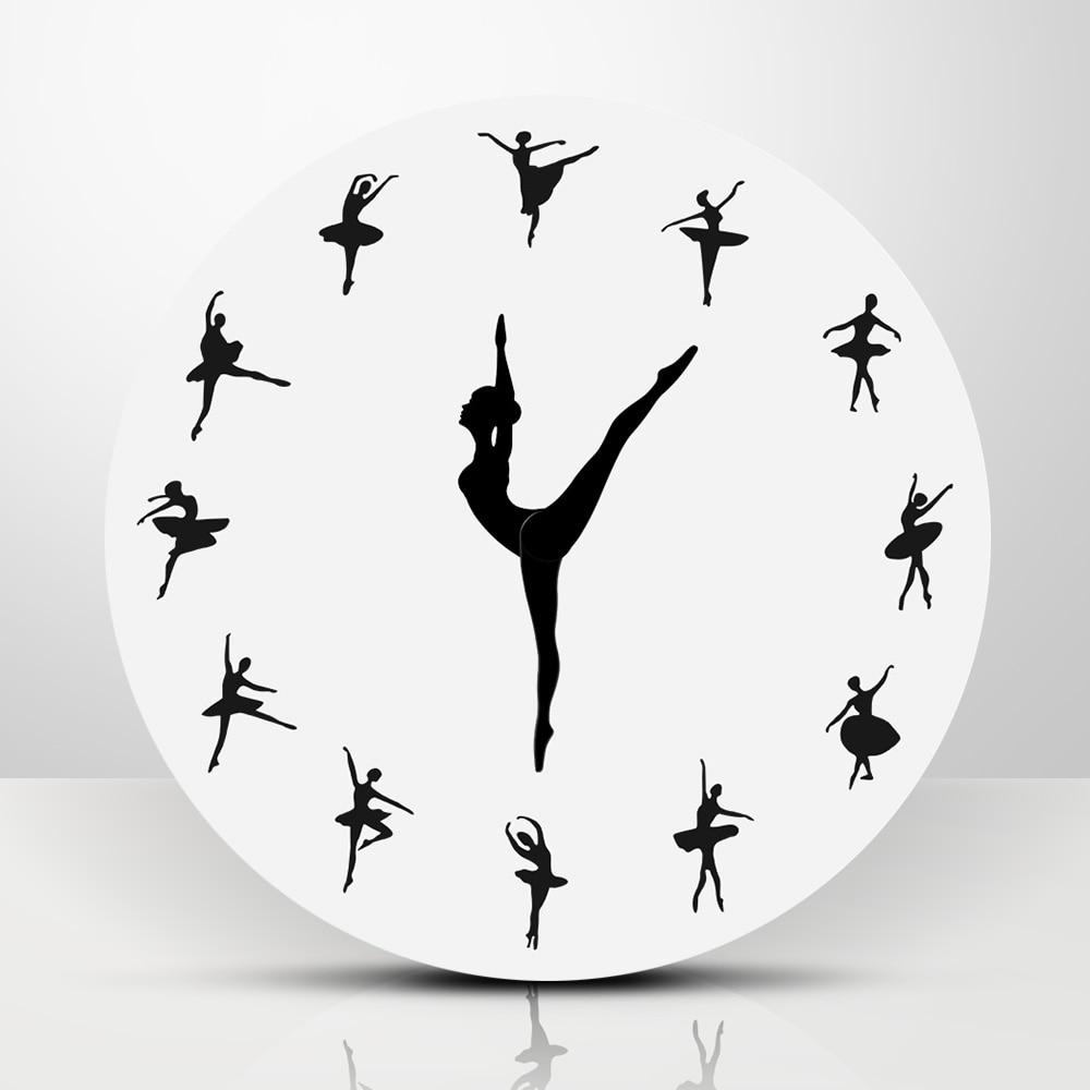 1 חתיכה בלט רקדנית מודרני עיצוב קיר שעון מקסים בלרינה 3D קיר שעון תינוקת משתלת דקור ייחודי מתנה עבור בלרינה