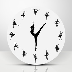 1Piece Ballet Dancer Modern Design Wall Clock Charming Ballerina 3D Wall Clock Baby Girl Nursery Decor Unique Gift For Ballerina