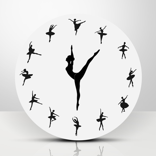 1Piece Ballet Dancer Modern Design Wall Clock Charming Ballerina 3D Wall Clock Baby Girl Nursery Decor Unique Gift For Ballerina